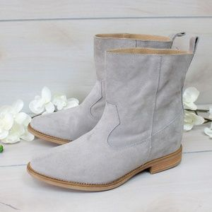 Anthropologie Grey Suede Western Boots NWIB 38
